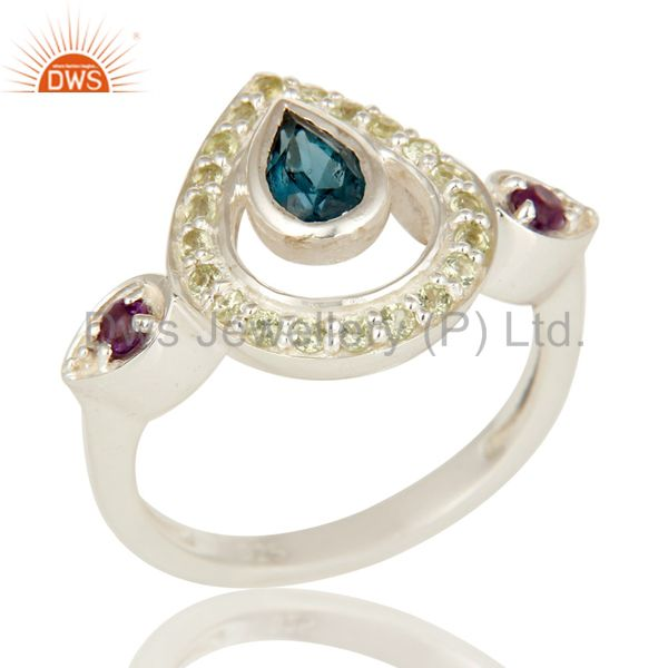 Amethyst, Blue Topaz And Peridot Sterling Silver Gemstone Statement Ring