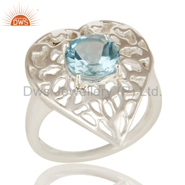 High Polish Sterling Silver Blue Topaz Gemstone Heart Design Cocktail Ring