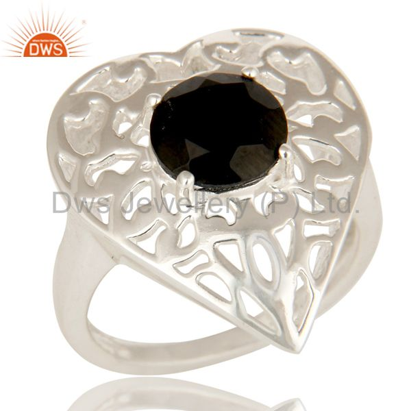 Natural Black Onyx High Quality Sterling Silver Heart Design Cocktail Ring