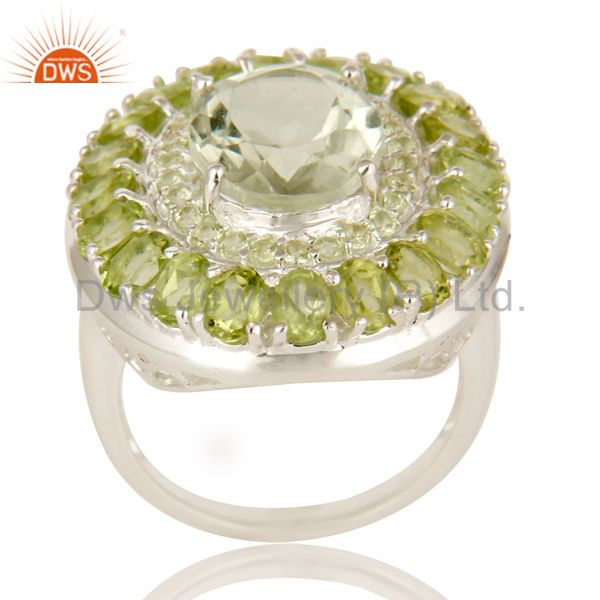 925 Sterling Silver Green Amethyst And Peridot Cluster Statement Ring