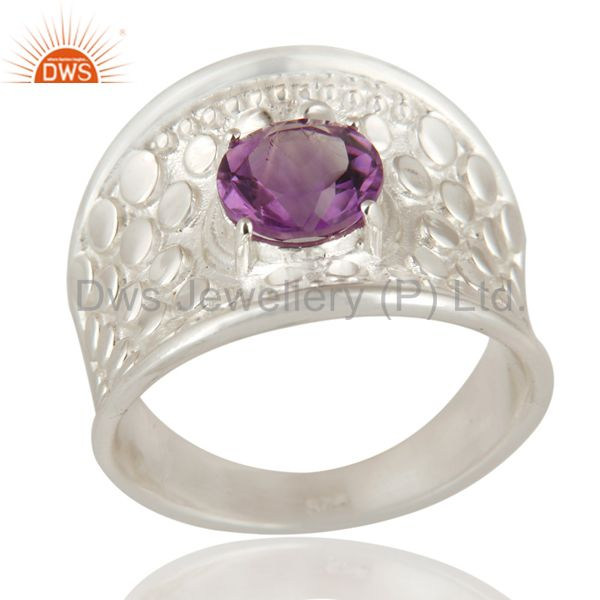 925 Sterling Silver Amethyst Gemstone Solitaire Dome Ring