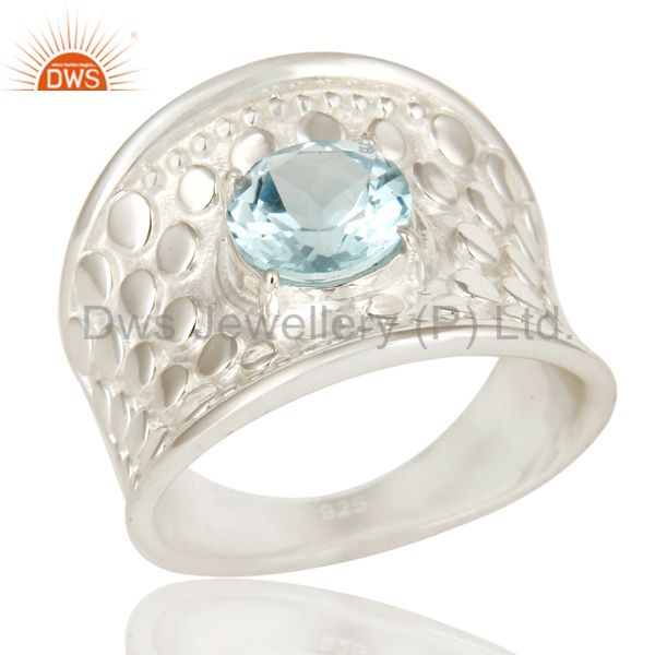 925 Sterling Silver Blue Topaz Gemstone Prong Set Dome Ring