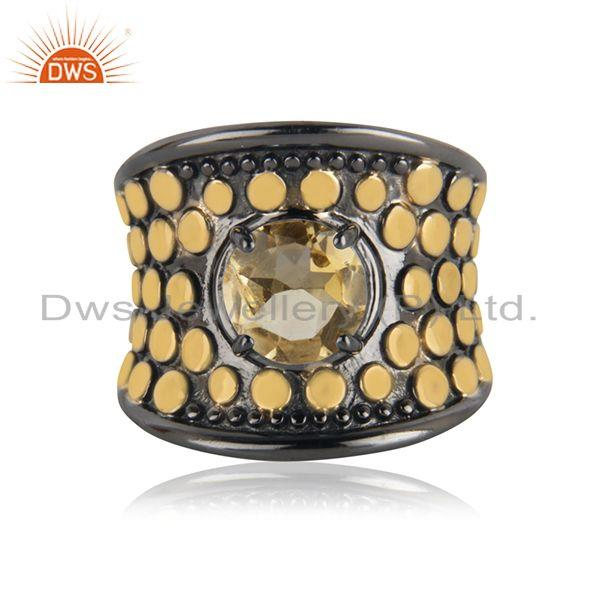 92.5 Silver New Designer Citrine Gemstone Cocktail Ring Manufacturer India