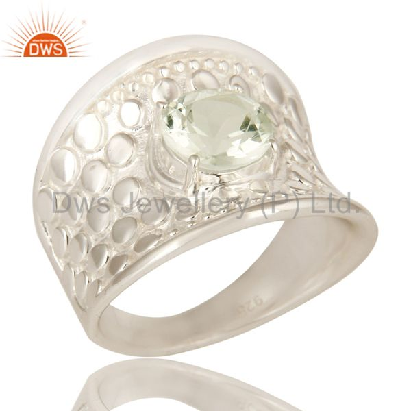 925 Sterling Silver Green Amethyst Gemstone Prong Set Dome Ring