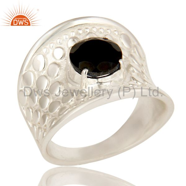925 Sterling Silver Prong Set Black Onyx Fine Gemstone Dome Ring