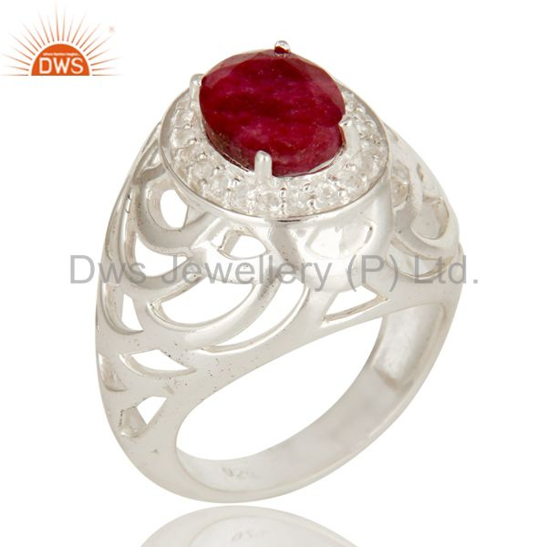 925 Sterling Silver Prong Set Ruby And White Topaz Designer Ring