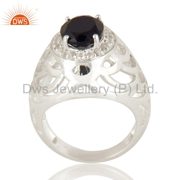 Natural Black Onyx Gemstone Sterling Silver Solitaire Ring With White Topaz