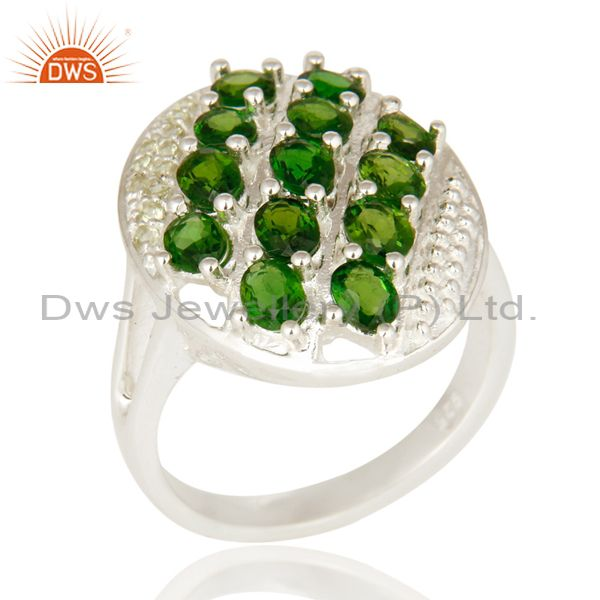 925 Sterling Silver Peridot And Chrome Diopside Solitaire Ring