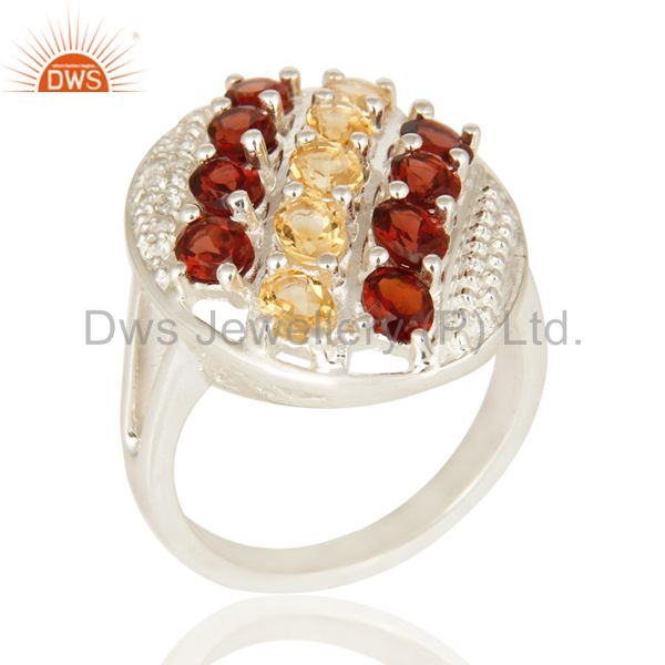 Garnet And Citrine Gemstone 925 Sterling Silver Prong Setting Ring