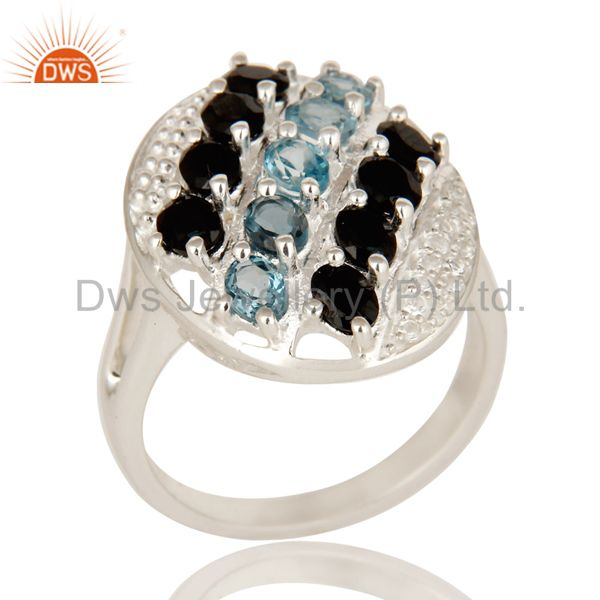 925 Sterling Silver Blue Topaz, White Topaz & Black Onyx Cluster Statement Ring