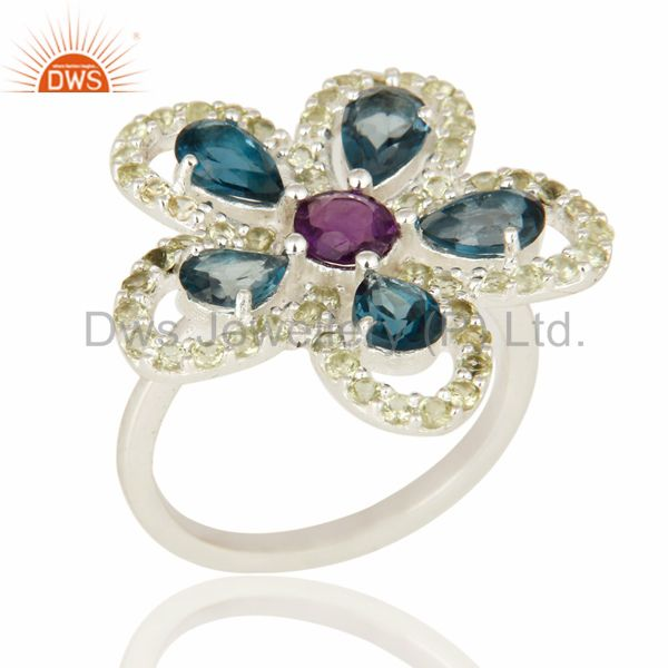 Flower Design s London Blue Topaz, Amethyst And Peridot Sterling Silver Ring
