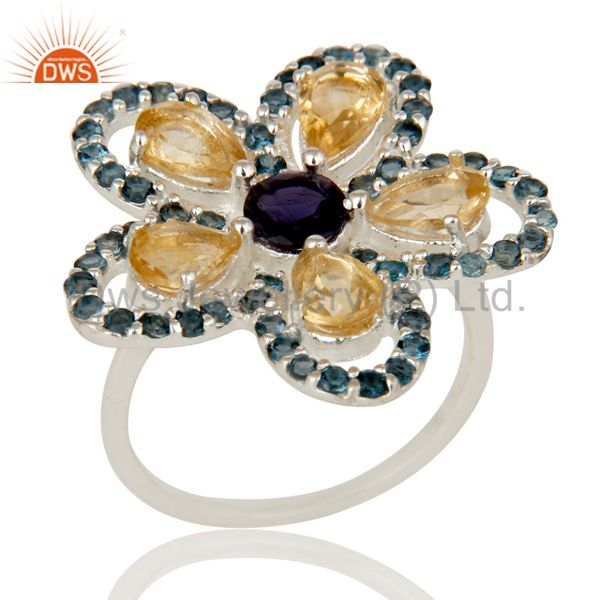 Flower Designer London Blue Topaz, Amethyst And Iolite Sterling Silver Ring