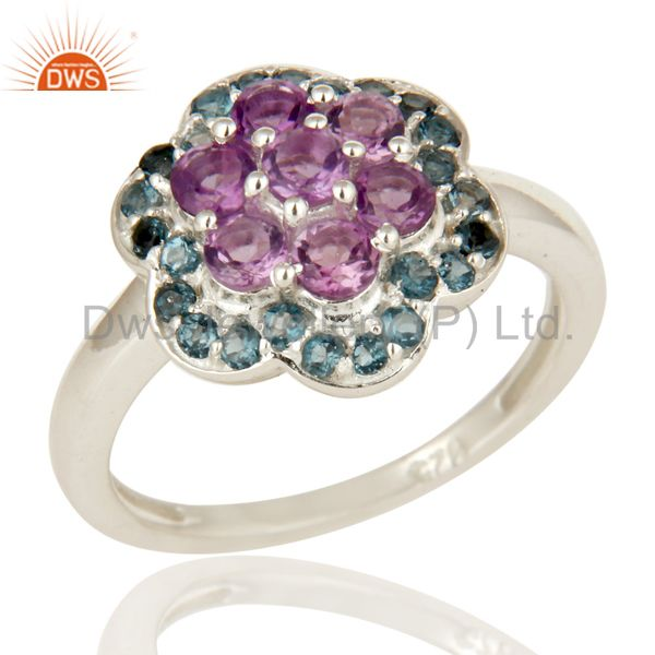 925 Sterling Silver Amethyst And Blue Topaz Gemstone Cluster Cocktail Ring