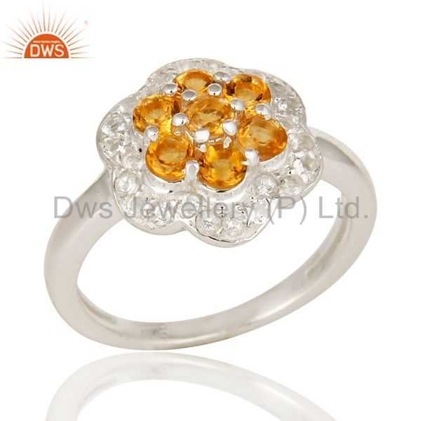 Natural Citrine And White Topaz Sterling Silver Solitaire Cocktail Ring