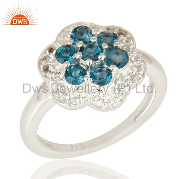 925 Sterling Silver Round London Blue Topaz And White Topaz-Accent Ring