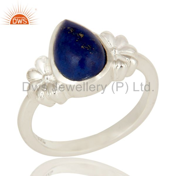 Solid 925 Sterling Silver Natural Lapis lazuli Gemstone Designer Ring