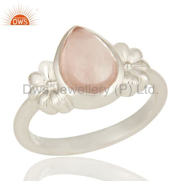 925 Sterling Silver Natural Rose Quartz Fine Gemstone Ring