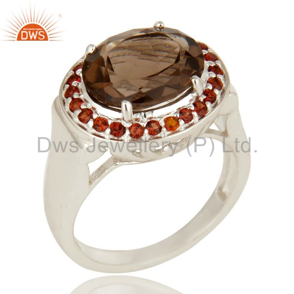 925 Sterling Silver Smoky Quartz And Garnet Gemstone Ring