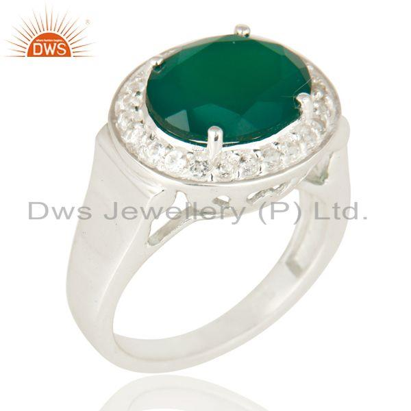 925 Sterling Silver Green Onyx And White Topaz Solitaire Ring