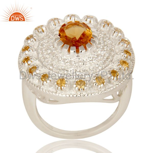 925 Sterling Silver Citrine And White Topaz Gemstone Designer Cocktail Ring