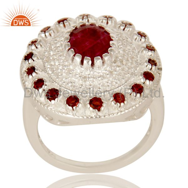 925 Sterling Silver Red Corundum And Garnet Gemstone Cocktail Ring