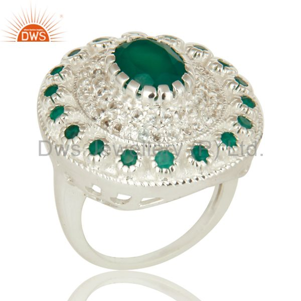 925 Sterling Silver Green Onyx And White Topaz Cocktail Fashion Ring