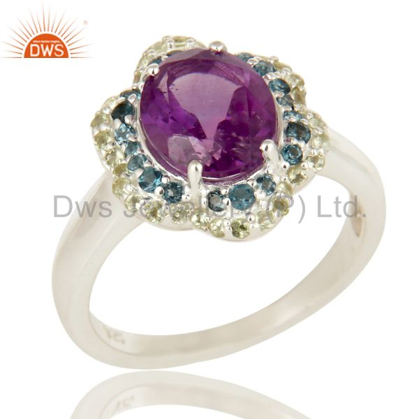 925 Sterling Silver Blue Topaz, Peridot And Amethyst Gemstone Ring