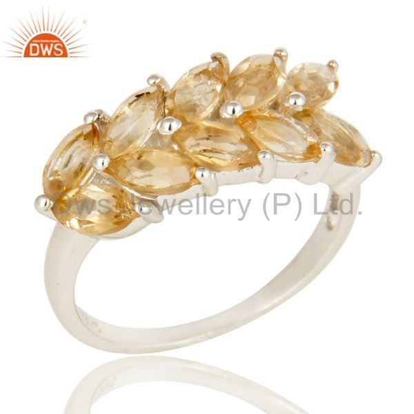 925 Sterling Silver Natural Citrine Gemstone Cluster Designer Ring