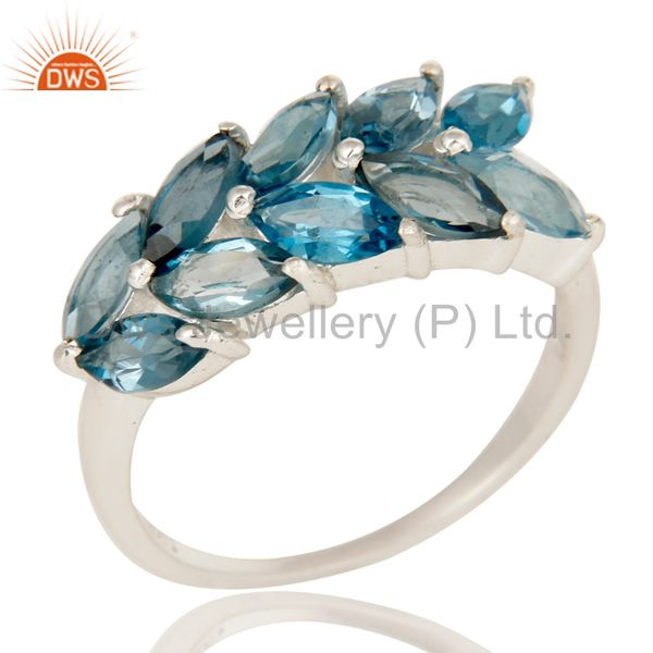 925 Sterling Silver London Blue Topaz Gemstone Engagement Ring Eternity Jewelry