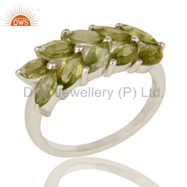 925 Sterling Silver Natural Peridot Gemstone Marquise Cluster Ring