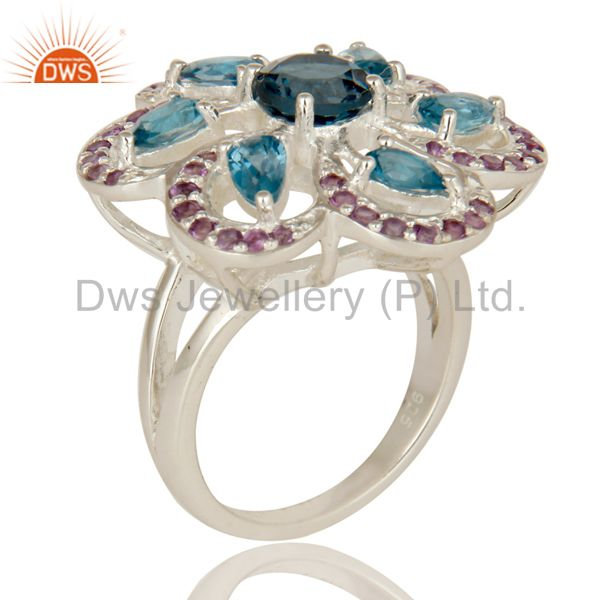 925 Sterling Silver London Blue Topaz & Amethyst Prong Set Flower Cocktail Ring