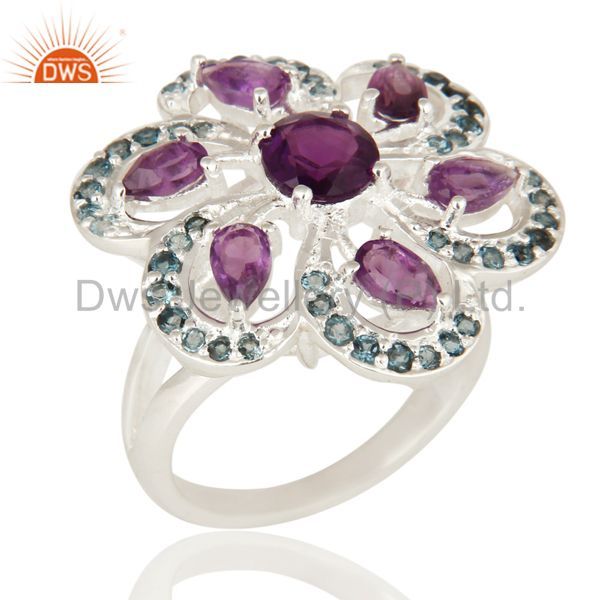 Flower Design London Blue Topaz And Amethyst Ring in Sterling Silver