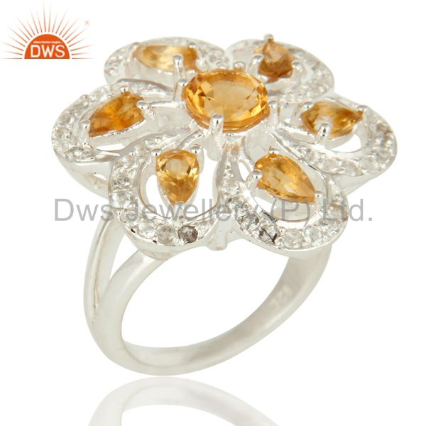 Natural Citrine And White Topaz Gemstone Sterling Silver Cocktail Ring