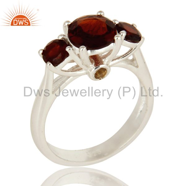 Natural Garnet And Citrine Gemstone Sterling Silver Solitaire Ring