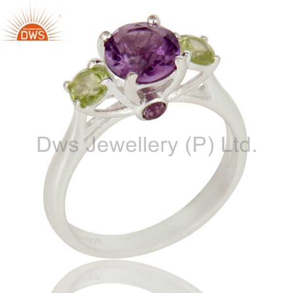 925 Sterling Silver Amethyst And Peridot Three Gemstone Cluster Ring