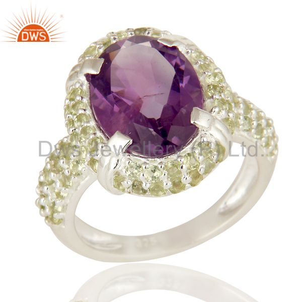 925 Sterling Silver Amethyst And Peridot Gemstone Halo Style Cocktail Ring
