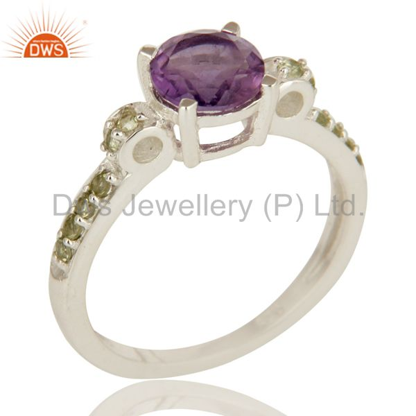 925 Sterling Silver Amethyst And Peridot Gemstone Round Cut Cluster Ring