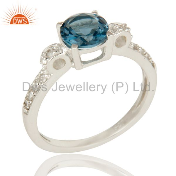 Modern Halo Blue Topaz And White Topaz Solitaire Ring in 925 Sterling Silver