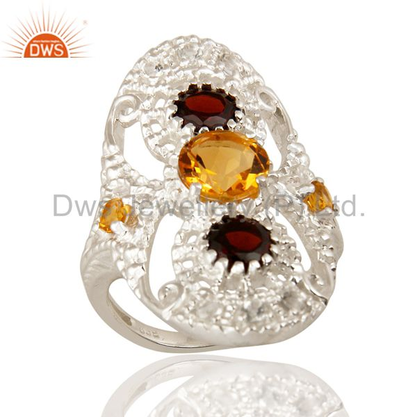 925 Sterling Silver Citrine Garnet And White Topaz Statement Ring