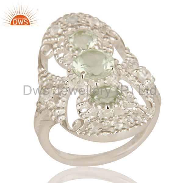 925 Sterling Silver Green Amethyst And White Topaz Statement Ring