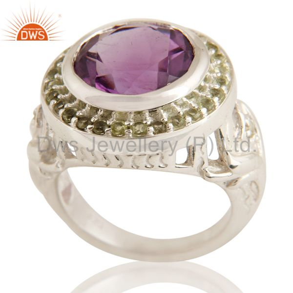 Natural Amethyst And Peridot Sterling SIlver Cocktail Ring