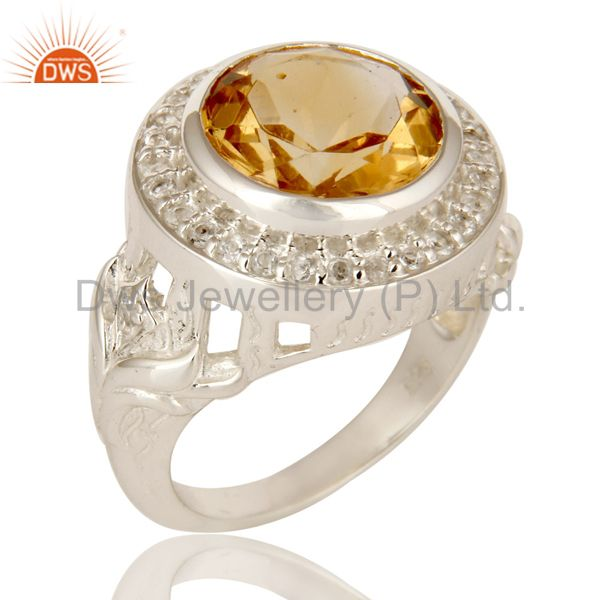 Sterling Silver Natural Citrine And White Topaz Gemstone Designer Cocktail Ring