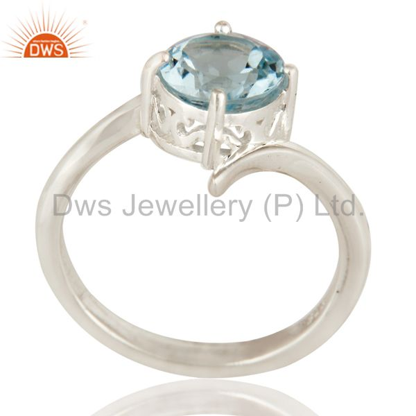 925 Sterling Silver Blue Topaz Gemstone Solitaire Engagement Ring