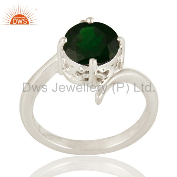 Natural Chrome Diopside Round Cut Genuine Sterling Silver Ring