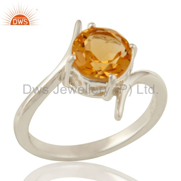 Natural Citrine Gemstone Genuine Sterling Silver Solitaire Ring