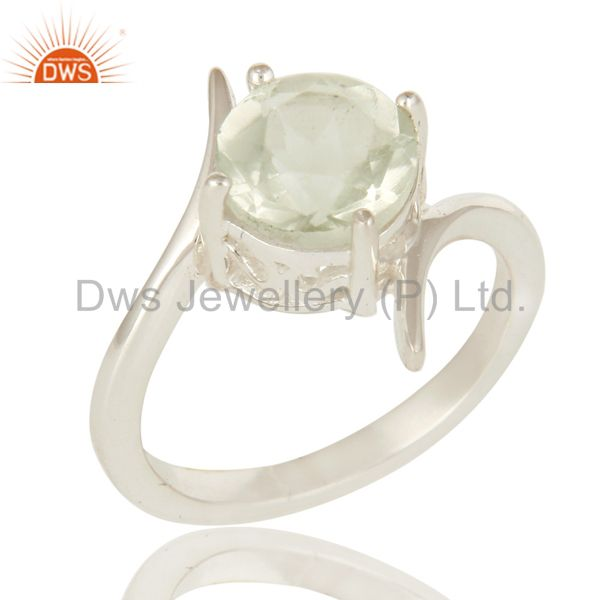 925 Sterling Silver Round Cut Green Amethyst Gemstone Designer Ring
