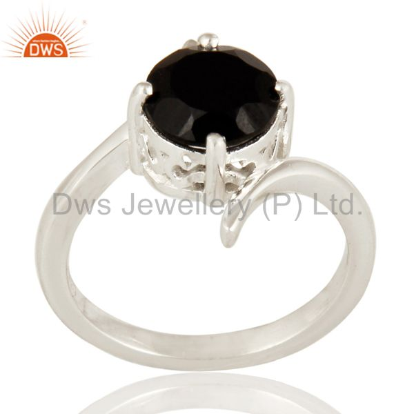 925 Sterling Silver Natural Black Onyx Solitaire Engagement Ring