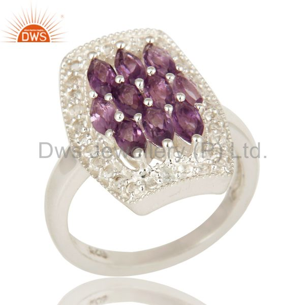 Natural Amethyst And White Topaz Sterling Silver Cocktail Ring