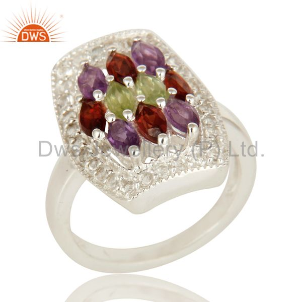 Amethyst, Garnet And Peridot Sterling Silver Ring With White Topaz