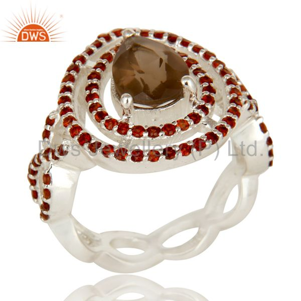 Smoky Quartz And Garnet Sterling Silver Cluster Infinity Design Statement Ring
